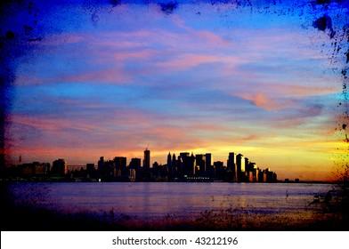 photo vibrant grunge  new york cityscape skyline at night, nyc, usa