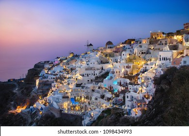Photo of the view of the Oia castle at the sunset time