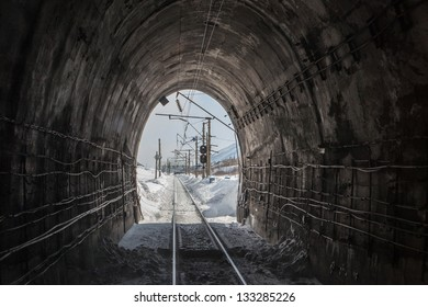 photo of view from working railroad tunnel