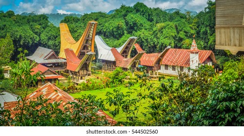 Photo of village with tongkonans and church surrounded by greenery in Toraja region in Sulawesi, Indonesia.