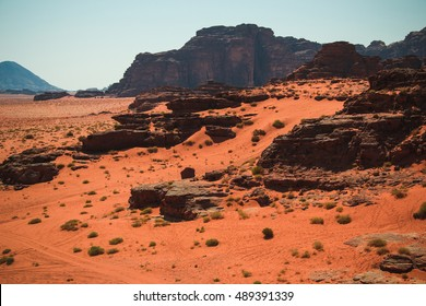 Photo of the Wadi Rum desert landscape,red sand, Jordan Middle East. UNESCO World Heritage. Adventure exotic concept.