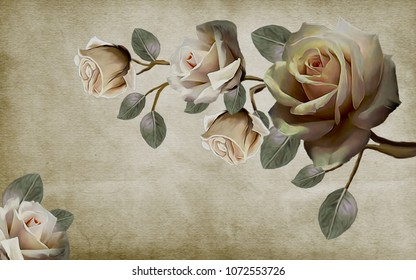Photo Wallpapers roses painted with oil paint. 3D rendering.