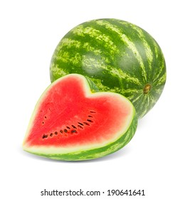 Photo of watermelon with slice in a heart shape isolated on white