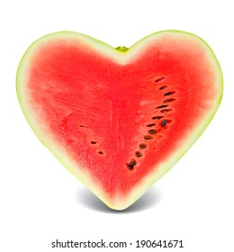 Photo of watermelon slice in a heart shape isolated on white