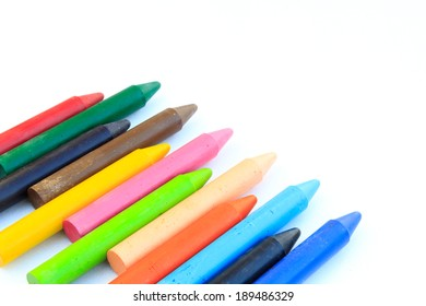 Photo of wax crayons isolated on white background