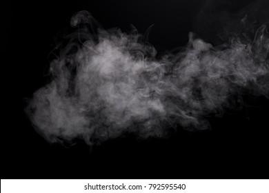 Photo white isolated mist of e-cigarette