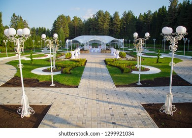 Photo of the white wedding pavilion among forest