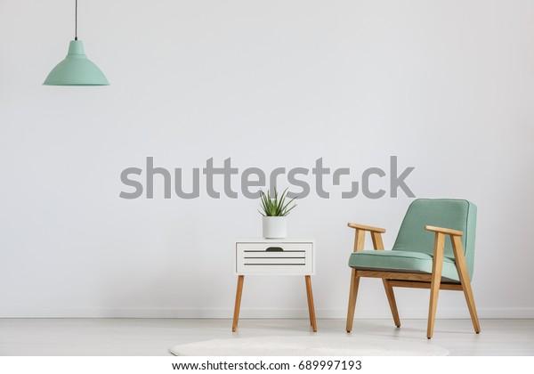 Foto von weißem Holzschrank mit frischer Pflanze und minzem Lampenschirm
