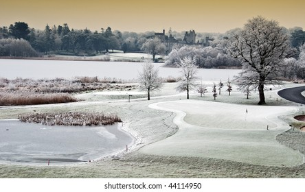 photo winter cold scenic landscape lake with castle in distance, ireland. dromonoland castle and golf course. beautiful epic Christmas scene from county clare ireland.