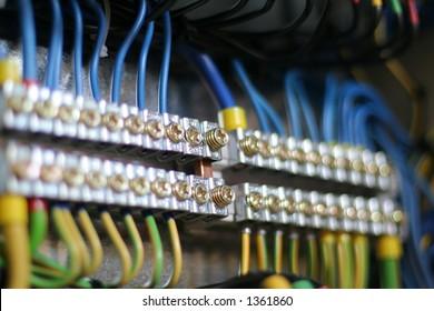 Photo of wiring (wirework). Focus on 2 screws