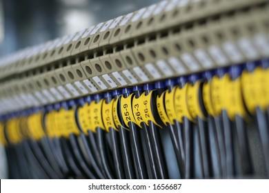 Photo of wiring (wirework). Focus on center