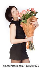 photo of woman with bouquet of roses