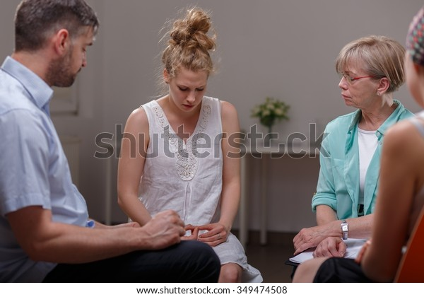 Photo of woman with eating disorder and support group