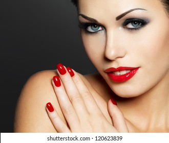 Photo Of Woman With Fashion Red Nails And Sensual Lips