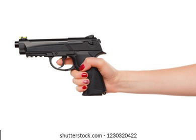 Photo of woman hand holding revolver handgun isolated on white background