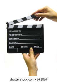A photo of a woman holding a clapboard