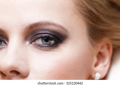 Photo of a woman smokey eye makeup