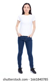 photo of woman wearing jeans and t-shirt posing on camera