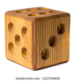 Photo of wooden dice isolated against a white background.