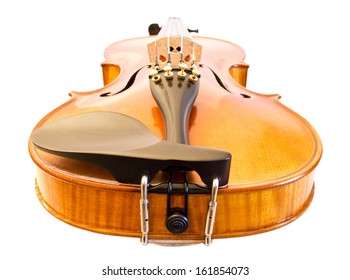 Photo of a yellow brown violin from bottom view.