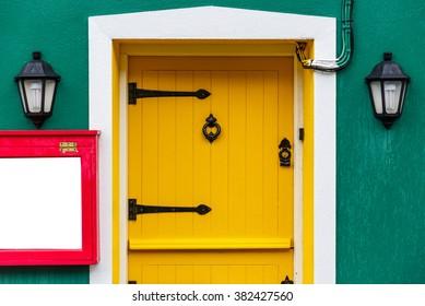 Photo of a yellow front door and two decor l&s & House Door Images Stock Photos \u0026 Vectors   Shutterstock
