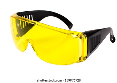 photo  yellow protective spectacles on white background isolated, close up full face