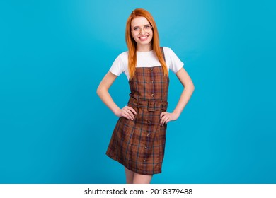 Photo of young attractive girl happy positive smile wear school uniform isolated over blue color background