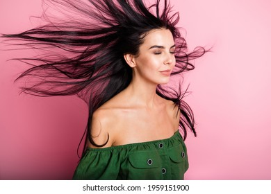Photo of young attractive woman fly air hair enjoy haircare shampoo isolated over pastel color background