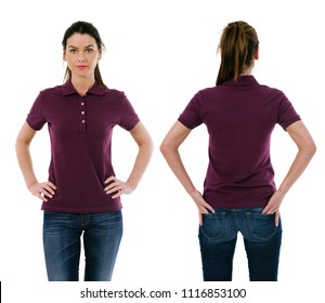Photo of a young beautiful brunette woman with blank purple polo shirt, front and back. Ready for your design or artwork.