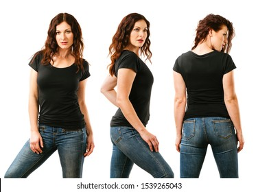Photo of a young beautiful redhead woman with blank black shirt, front, side and back. Ready for your design or artwork.