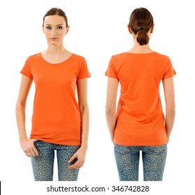 Photo of a young beautiful woman with blank orange shirt, front and back views. Ready for your design or artwork.