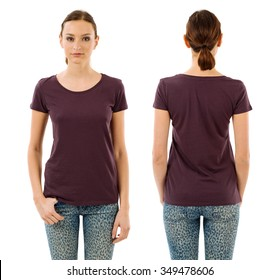 Photo of a young beautiful woman with blank dark purple shirt, front and back views. Ready for your design or artwork.