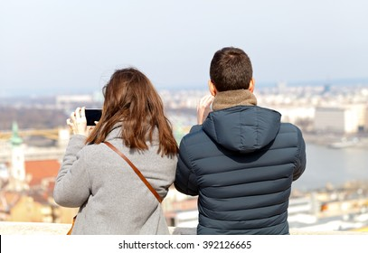 photo of a young couple visiting Budapest