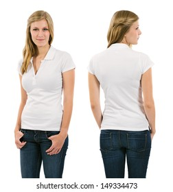 Photo of a young female in her late teens posing with a blank white polo shirt.  Front and back views ready for your artwork or designs.