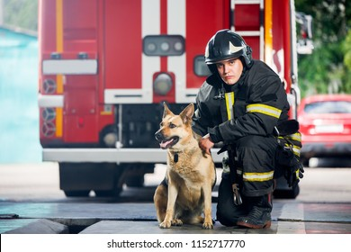 Photo of young fireman squatting next to service dog near fire engine