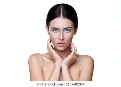 Photo of Young Girl with Flawless Skin on white Background. Skin Care and Beauty Concept, Anti Aging Face Skin, Organic Cosmetics