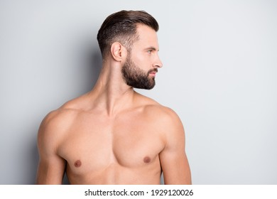 Photo of young handsome stubble man muscular naked haircut shampoo look empty space isolated over grey color background