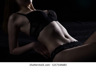 Photo of young lying girl in sexual underwear