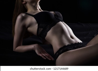 Photo of young lying girl in sexual lingerie