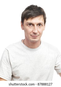 Photo of the young man on a white background