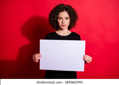 Photo of young person arms fingers holding white paper seriously looking isolated on bright red color background