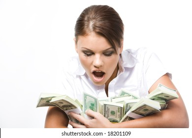 Photo of young woman afraid of losing money being held by her