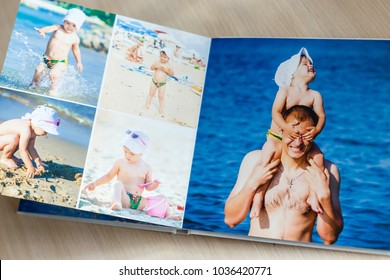 Photobook with beach photos isolated on white