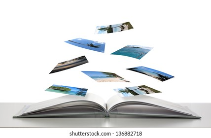 Photobook with Photos of Beach Scenes Floating