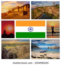 photocollage travel to beautiful natural places and architectural sights of India