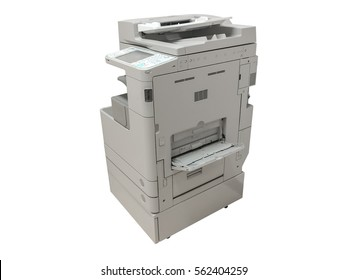 Photocopier / copy machine, printer and fax for office paper work isolated on white background