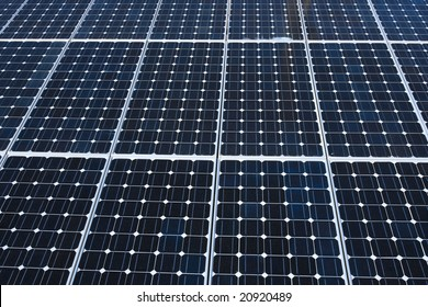 Photoelectric cells of a solar panel.