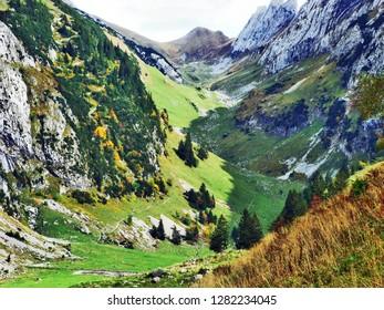 Photogenic pastures and hills of the Alpstein mountain range - Canton of St. Gallen, Switzerland