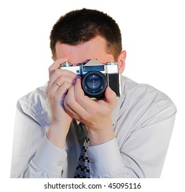photografer with a old photocamera close up