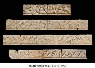 Photografic reconstruction of the Frieze of the Mausoleum at Halicarnassus. Make from the reproduction exhibited in the Mausoleum, in Bodrum, Turkey, represents combats between Greeks and Amazons.